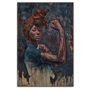 Powerful Black Woman Framed Canvas