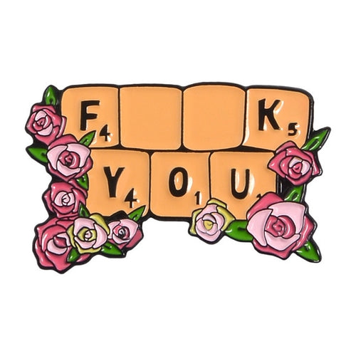 Scrabble F You Enamel Pin