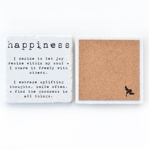 happiness bar coaster marble
