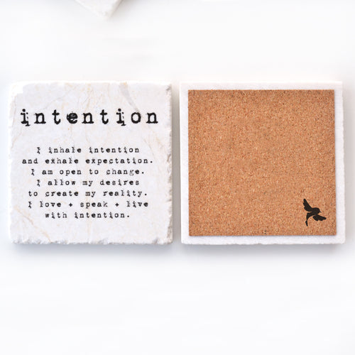 intention meditation marble tile coaster