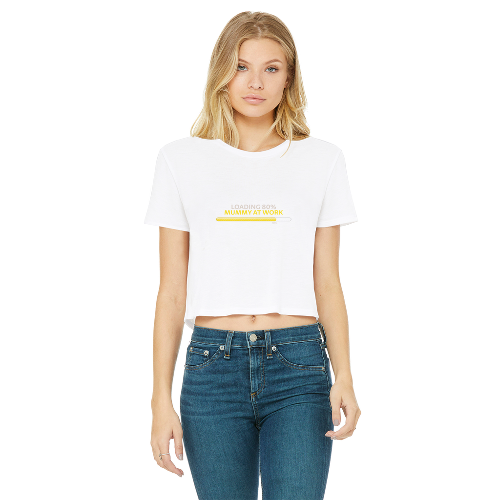 Mummy Loading Classic Women's Cropped Raw Edge T-Shirt