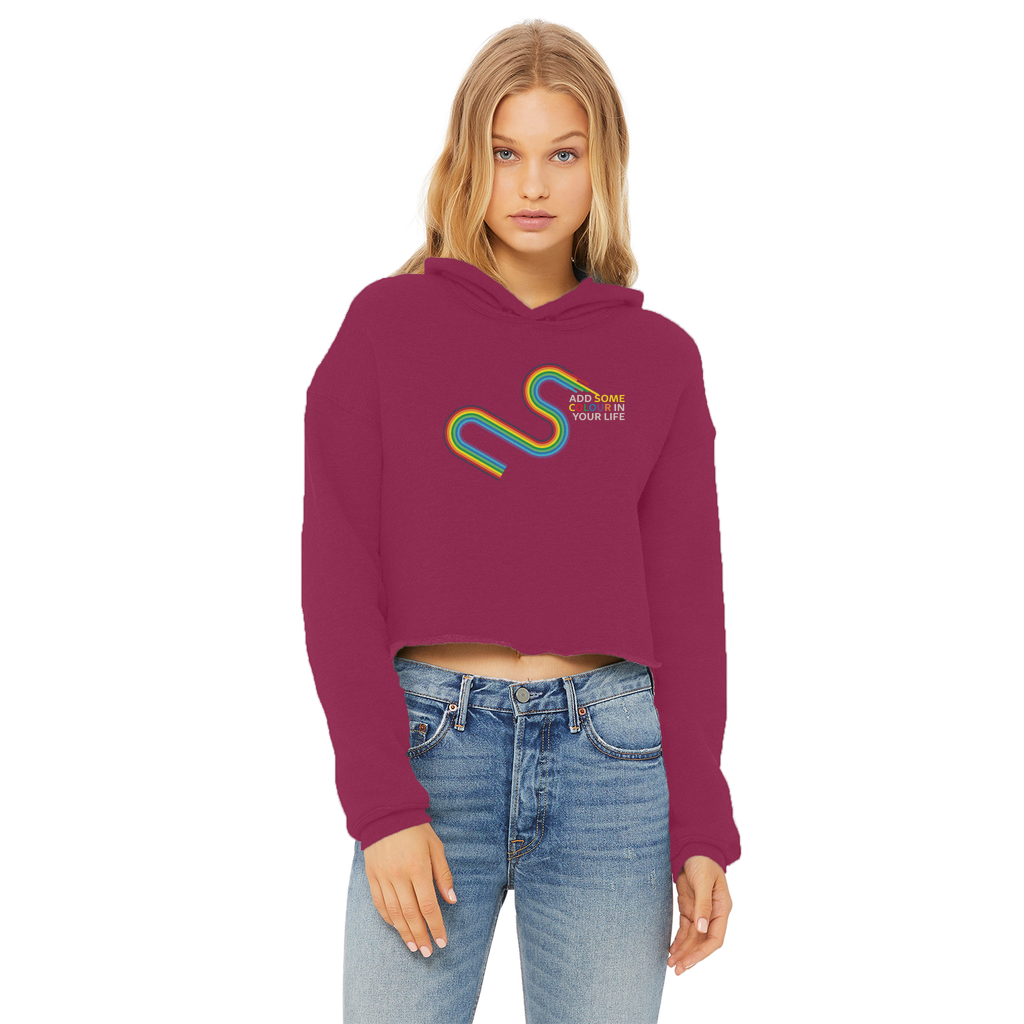 Add some colour to your life Ladies Cropped Raw Edge Hoodie