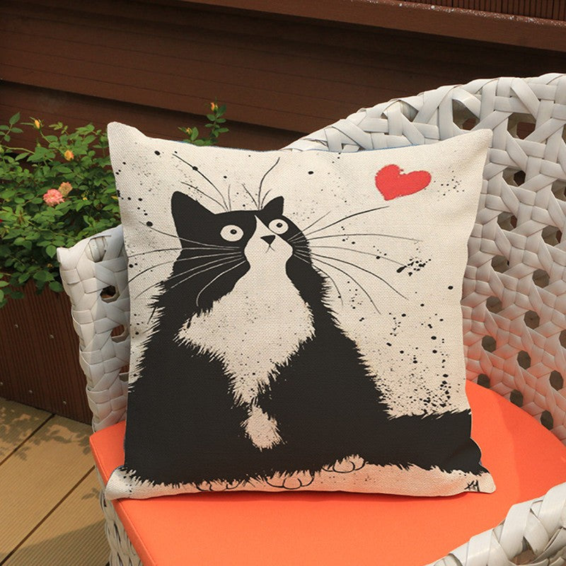 Cat Pillow Cover, Cotton Linen
