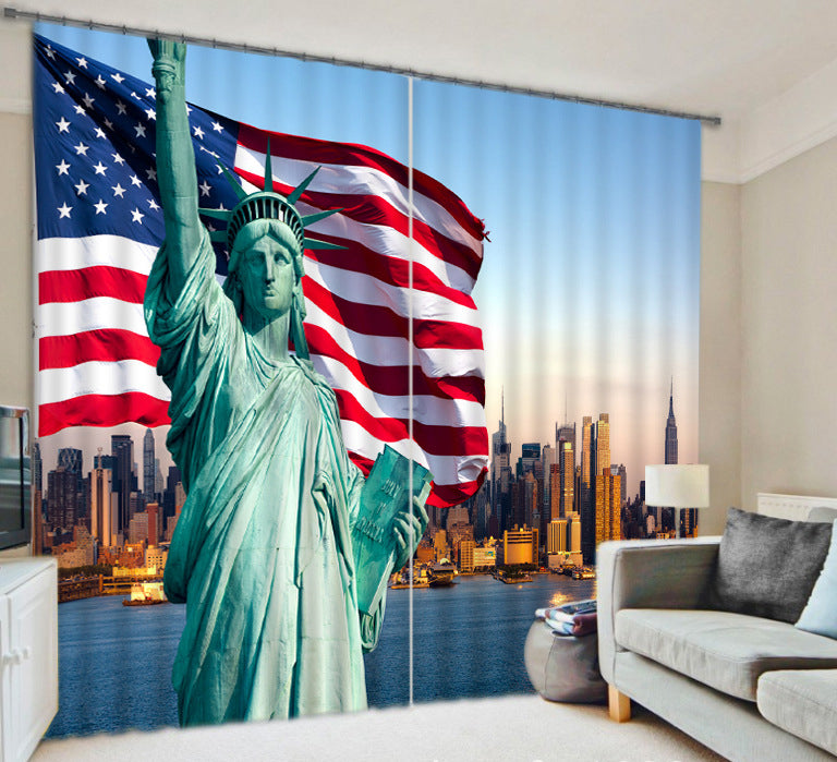 3D USA Flag Luxury Room Curtain