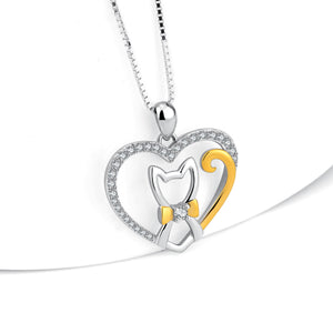 I love my Cat- 925 Pure Sterling Silver Necklace