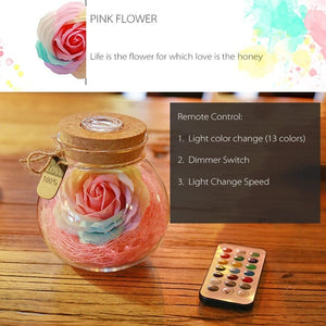 LED Creative Night Light Flower Rose Romantic Bottle