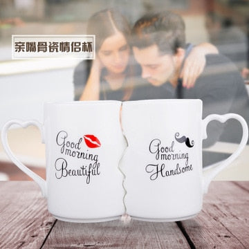 2Pcs/Set Couple Cup Ceramic Coffee Kiss Mug