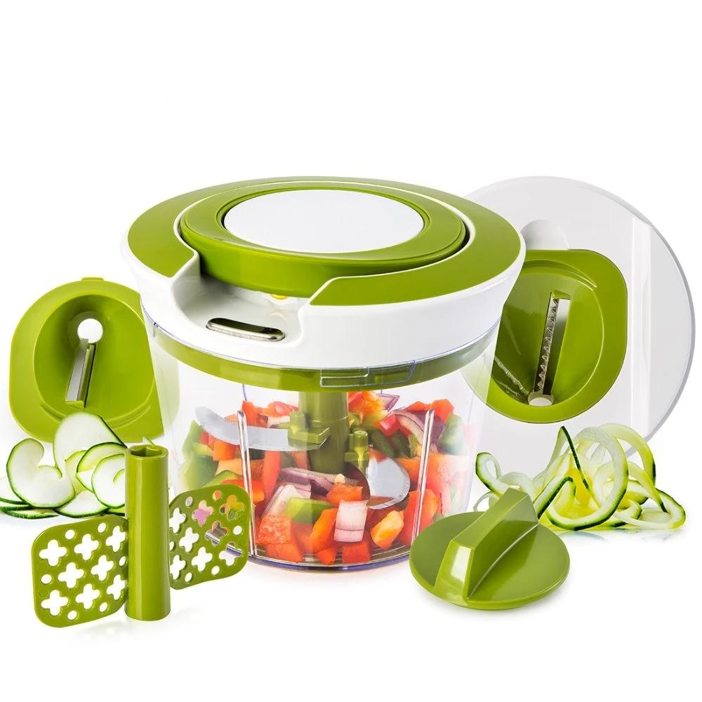 Powerful Pull String Food Chopper Spiral Slicer-4 blades