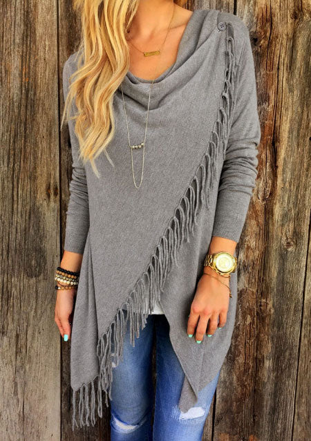 Solid Tassel  Fashion Outwear