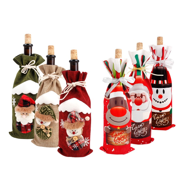 Christmas Santa Claus Wine Bottle Cover