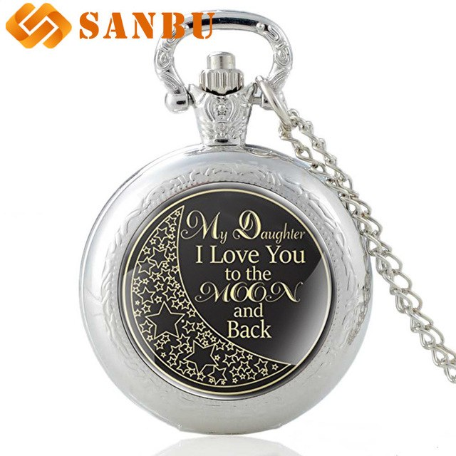 Love You to the Moon Quartz Pocket Watch