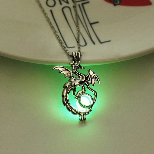 Dragon Glow in Dark Stone Necklace