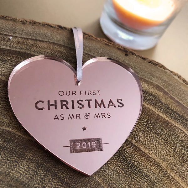 2019 First Christmas As Mr & Mrs Rose Gold Bauble
