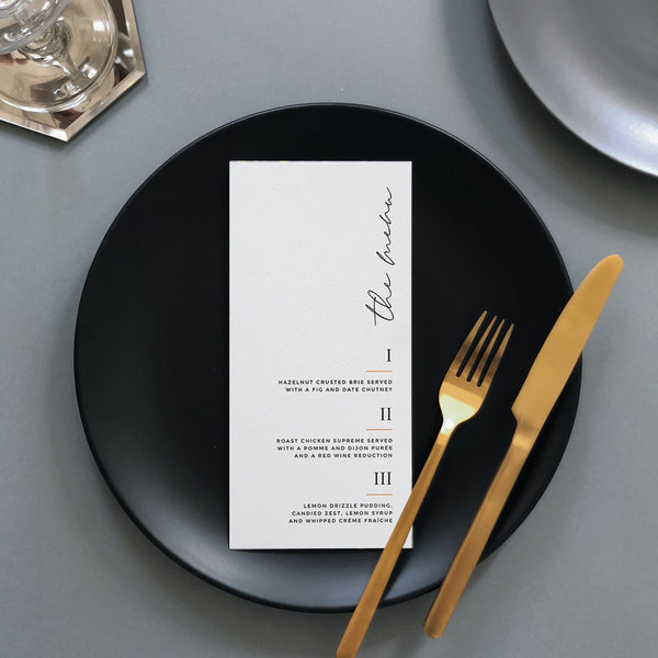Wedding Menu Cards | Pearl Vine Print