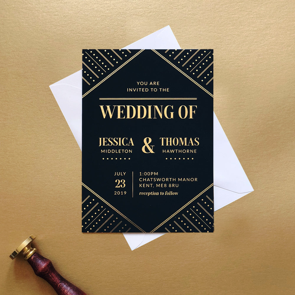 Art Deco Gold Foil Wedding Invitation | Deco Collection
