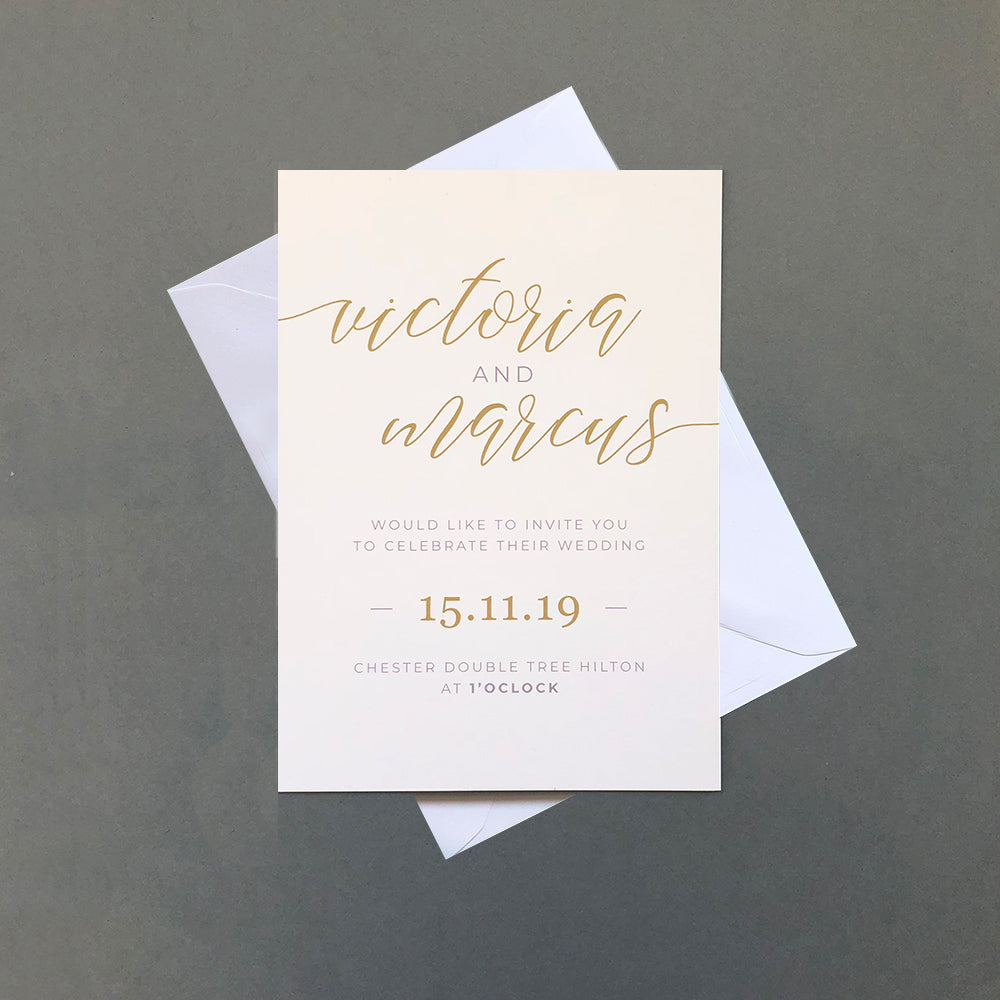 Minimalist White and Gold Wedding 'Hampton' Invitation | Pearl Vine Print
