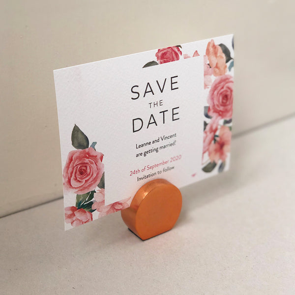Pink Rose Floral Save the Date