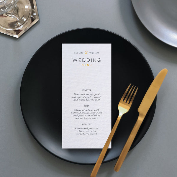 Yellow Wedding Menu Card