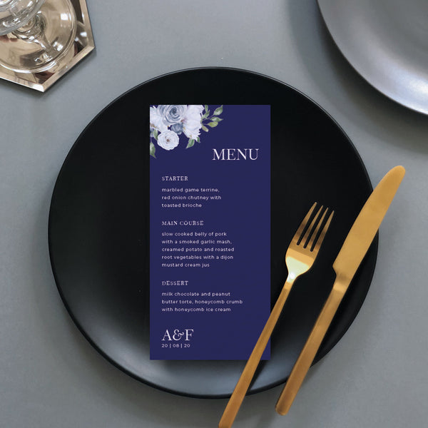 Blue Floral Wedding Menu