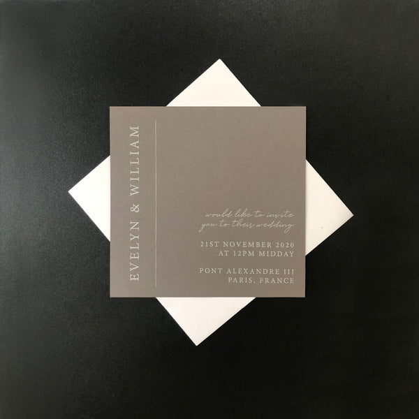 Grey Wedding Invitation with White Ink