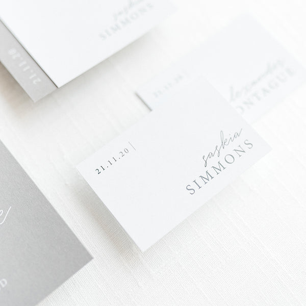 White and Black Minimal Name Place Cards Liverpool | Pearl Vine Print