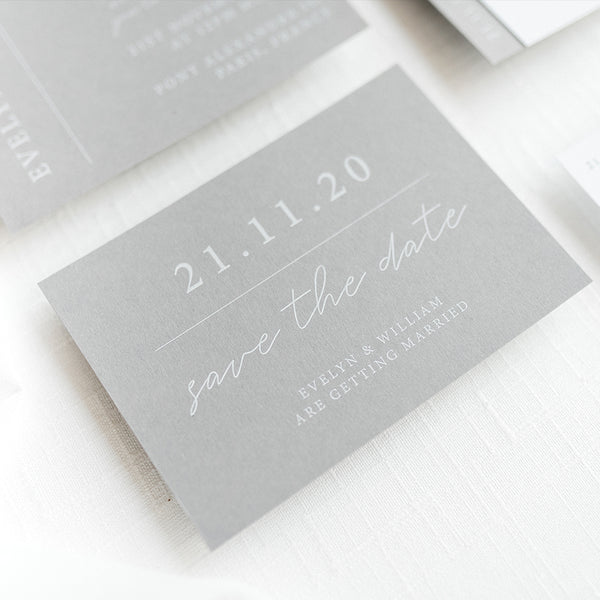 Grey And White Minimalist 'Parisian' Save the Date Cards | Pearl Vine Print