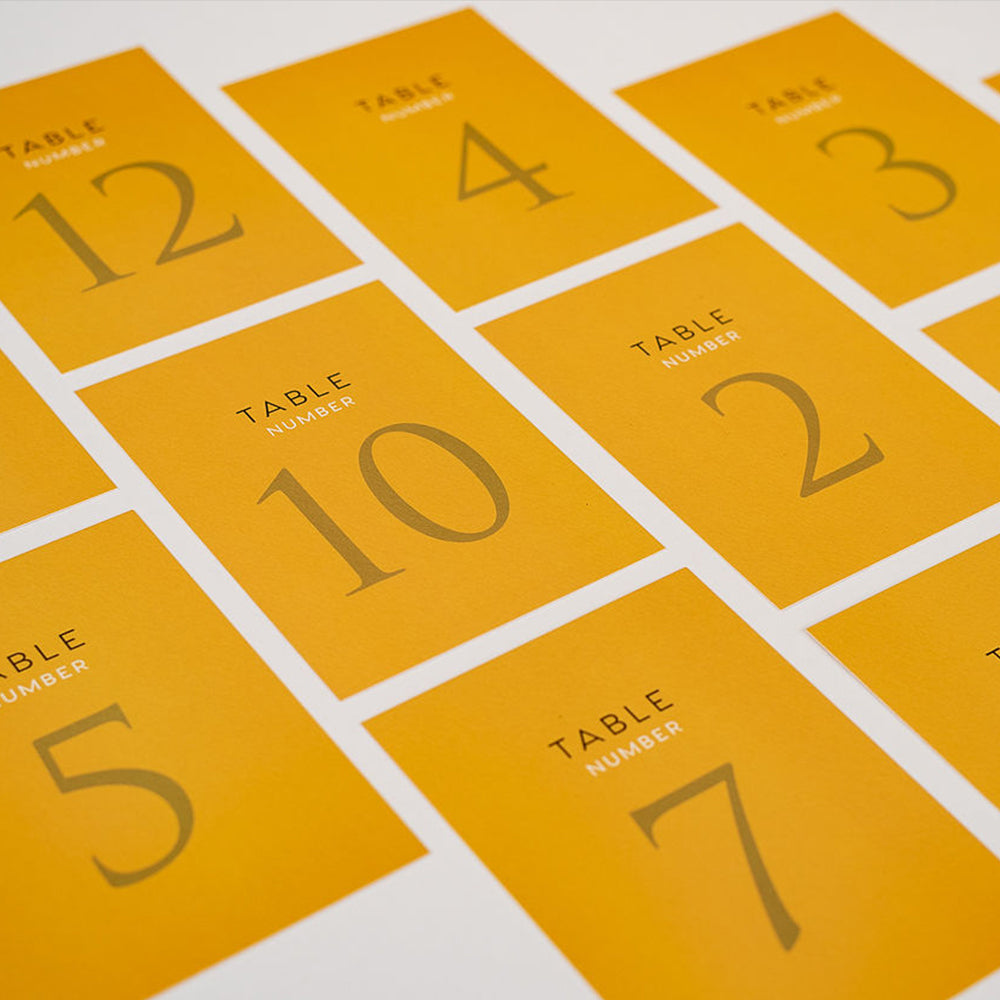 Mustard Yellow Table Numbers