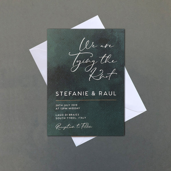 Green Watercolour Wedding Invitation