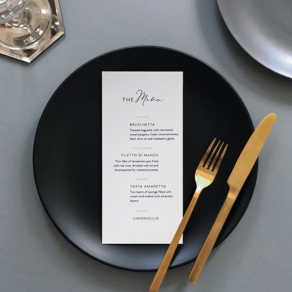 White Minimalist Wedding Menu Card