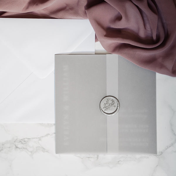 Vellum Wrap for Wedding Invitations | Pearl Vine Print