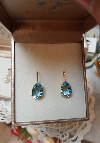 Small Light Blue Crystal Drop Earrings