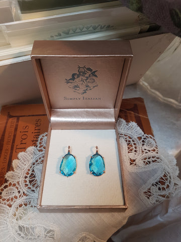Light Blue Crystal Drop Earrings