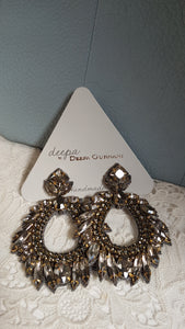 Deepa Gurnani Earrings (Gunmetal)