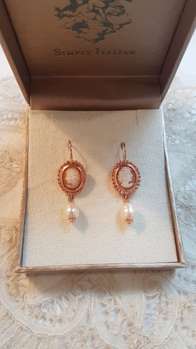 Simply Italian Cameo and Pearl Drop Earrings