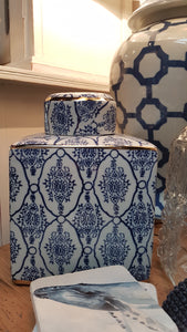 Square Blue & White Ginger Jar
