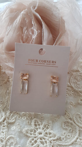 Four Corners Crystal Drop Earrings