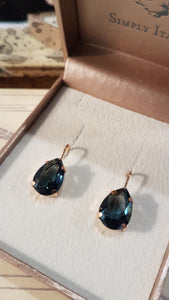 Smokey Blue Crystal Drop Earrings by Simply Italian