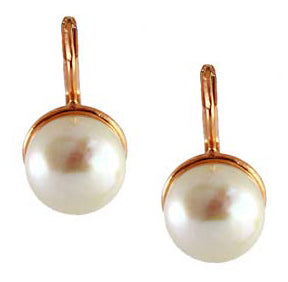 Pearl & Rose Gold Drop Earrings