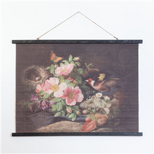 Load image into Gallery viewer, Floral Canvas with Birds Nest
