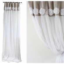 Load image into Gallery viewer, Tab Top Rose Voile Curtains