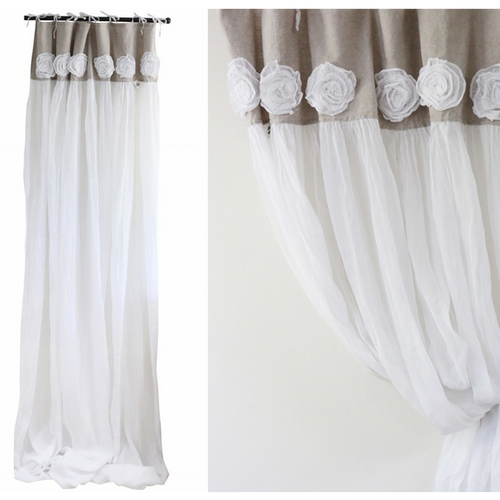 Tab Top Rose Voile Curtains