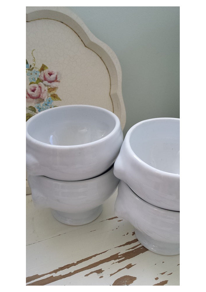Lion Head White Soup Bowls