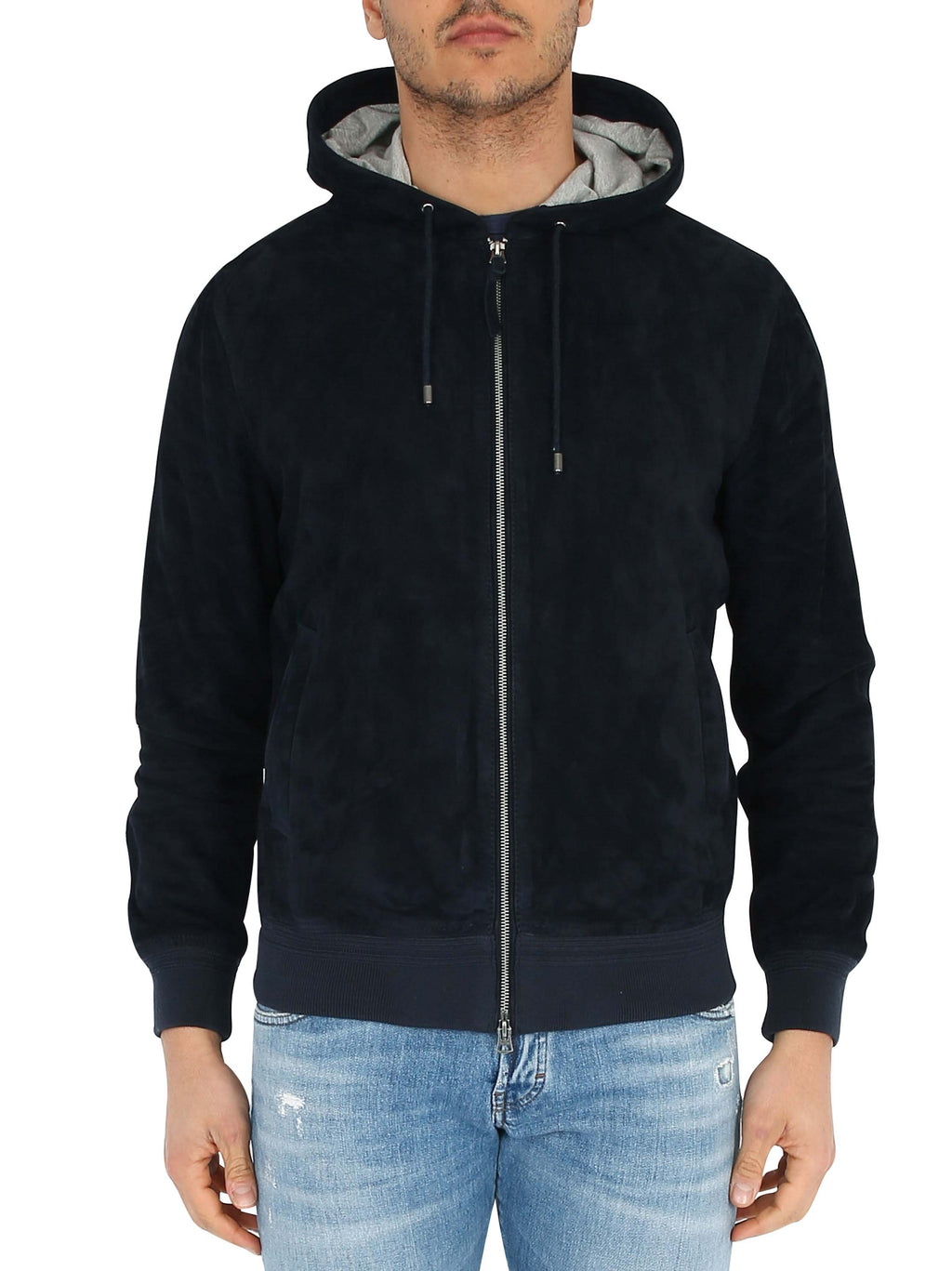 PRO LEATHER Zipped jacket and suede hood