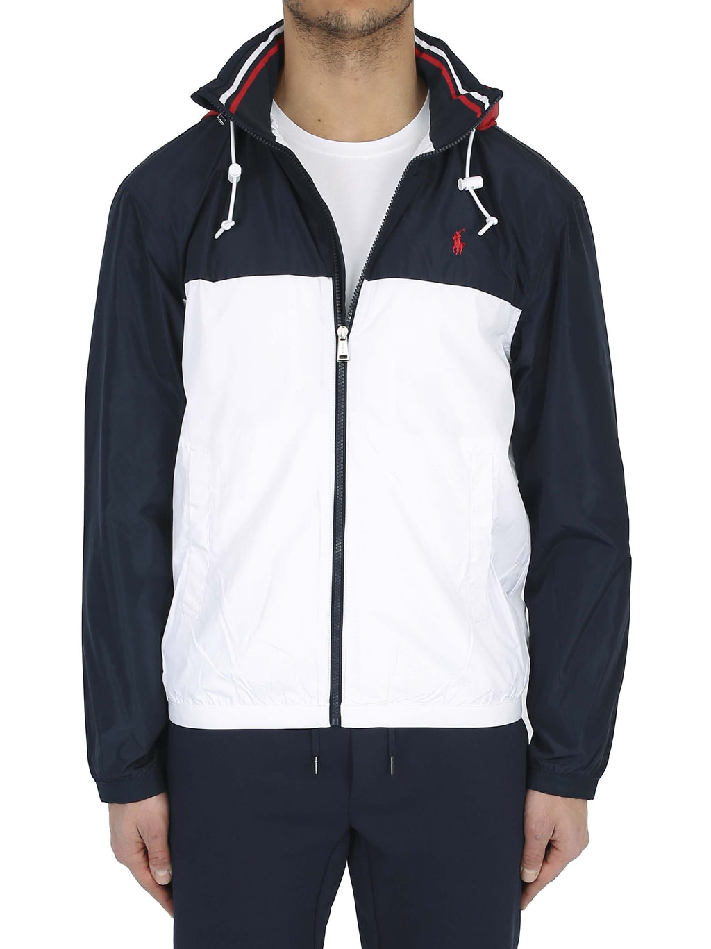 RALPH LAUREN Color block motif hooded jacket with embroidered logo