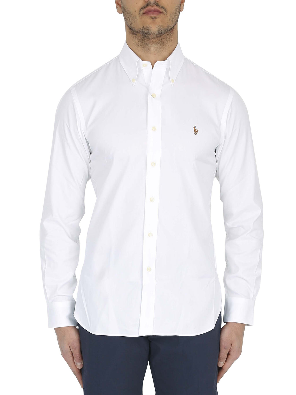 RALPH LAUREN Custom fit button down shirt with embroidered logo