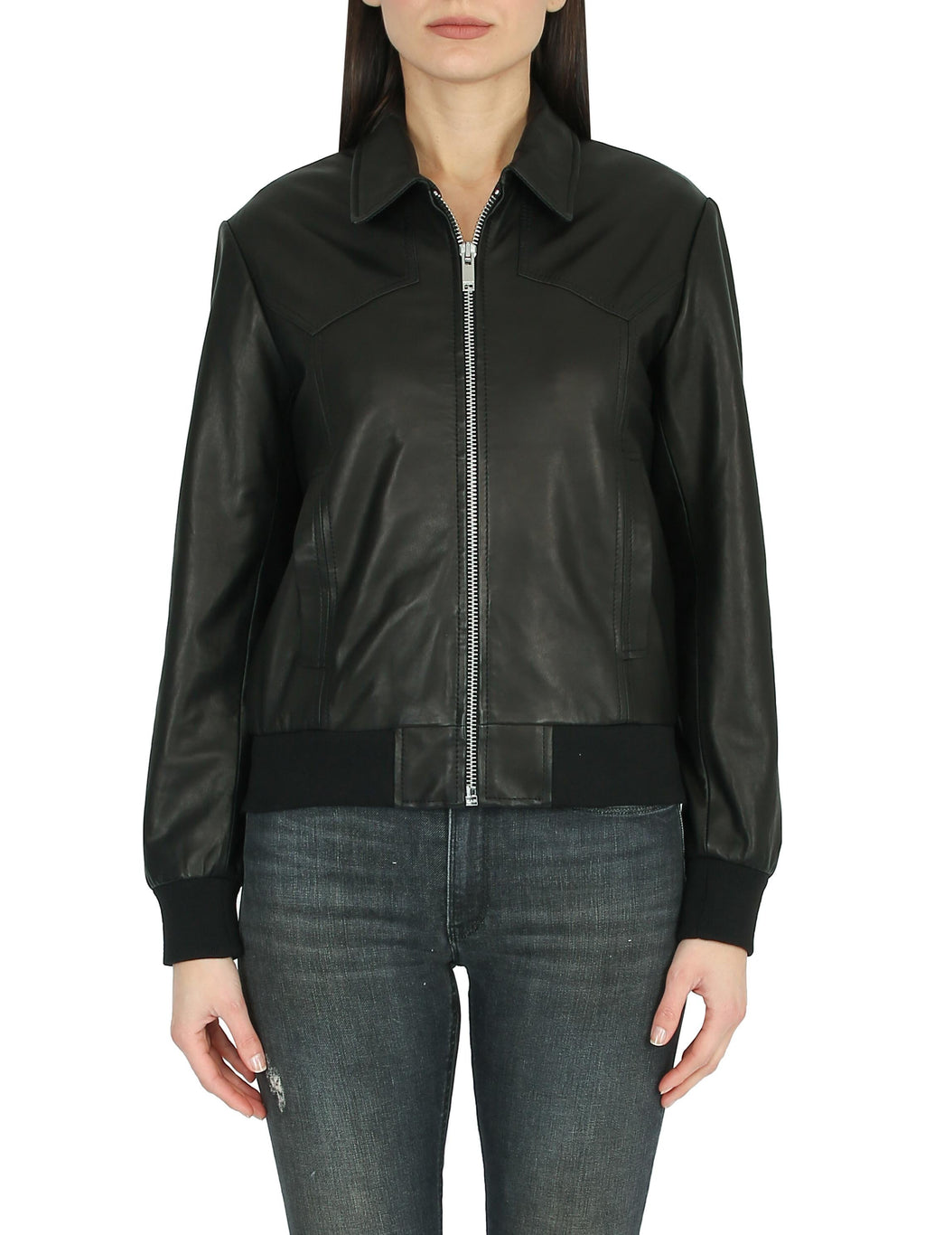 DONDUP Bomber in pelle con collo camicia