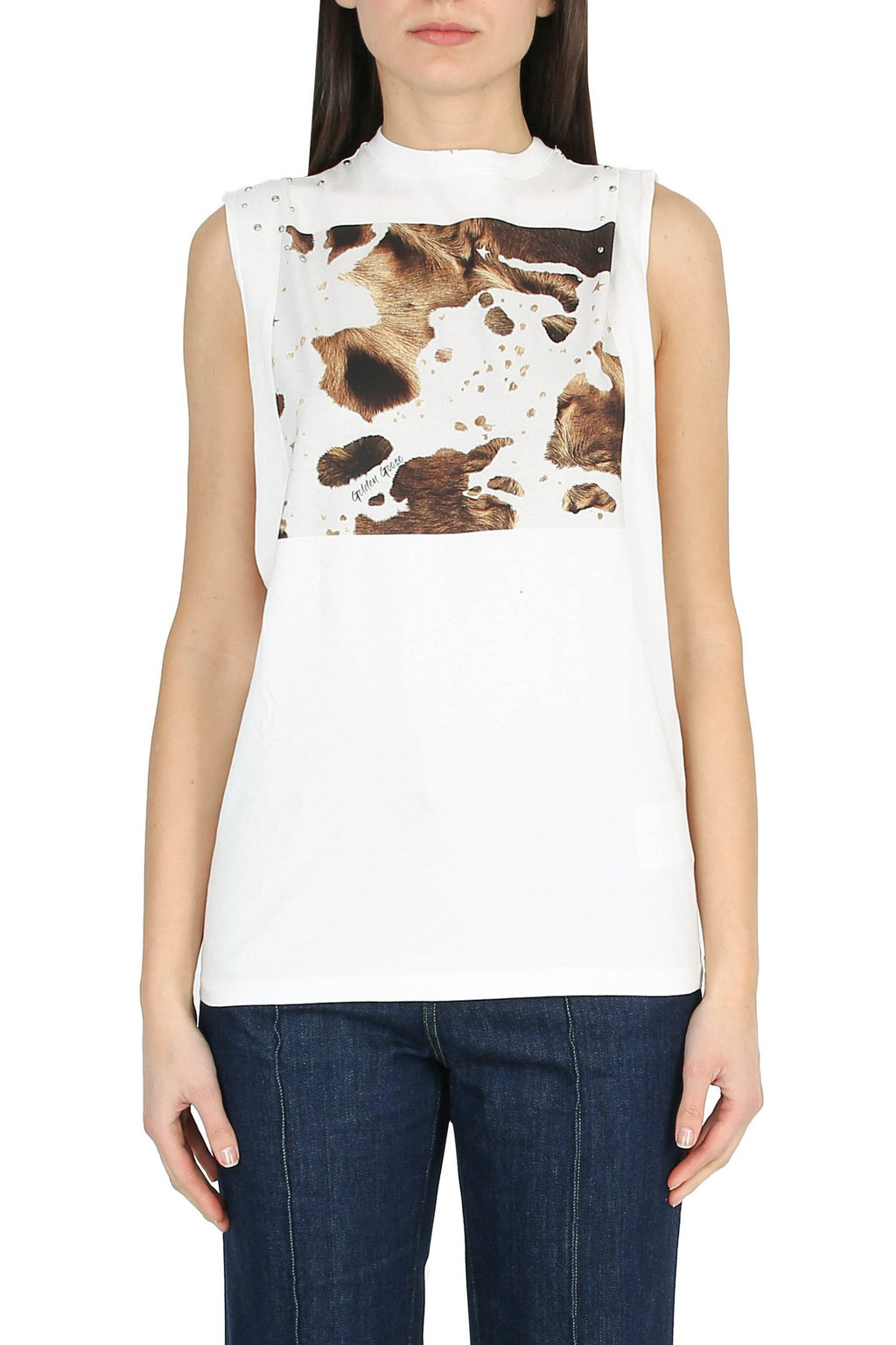 GOLDEN GOOSE Sleeveless T-shirt with front print