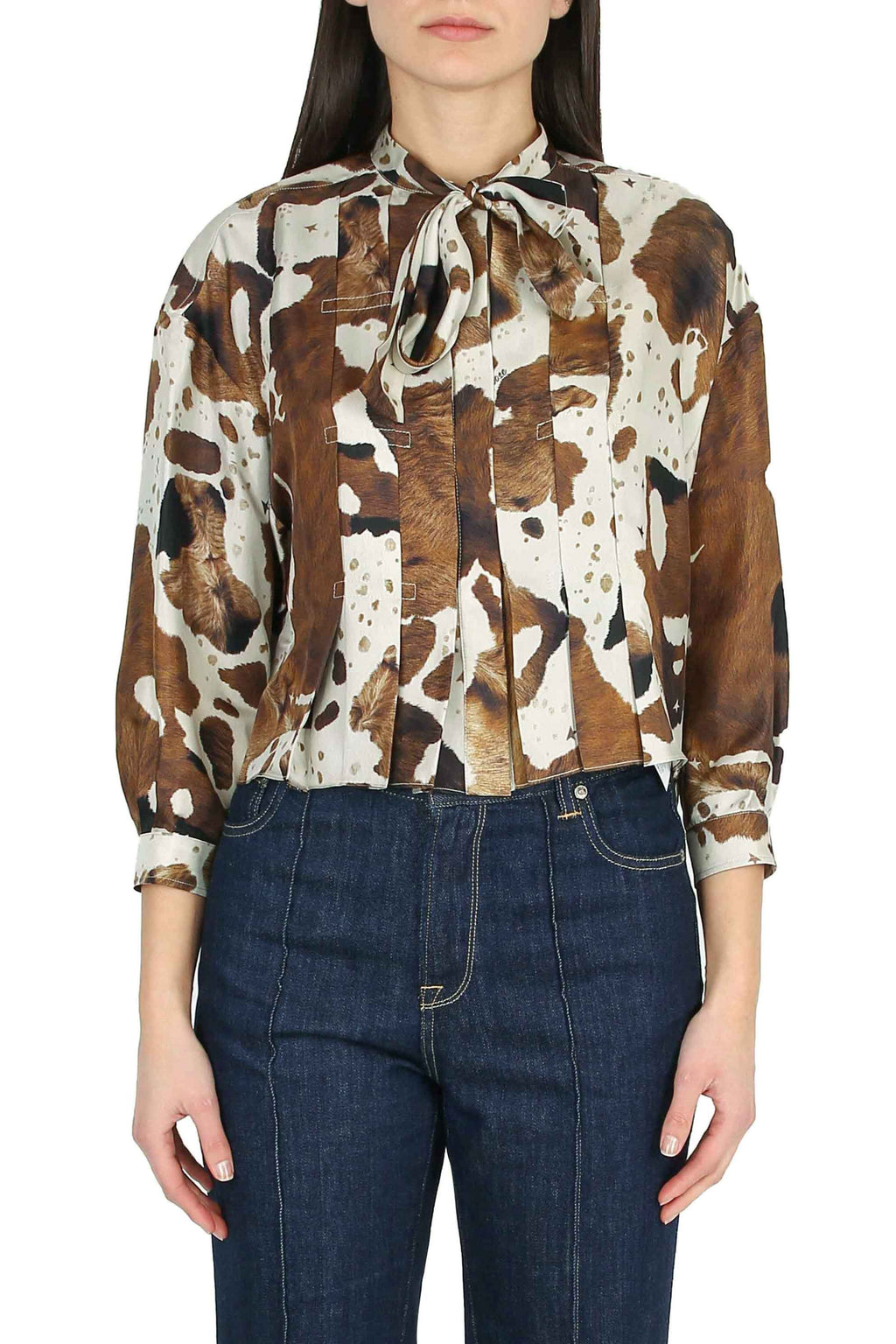 GOLDEN GOOSE Shirt with printed silk bow