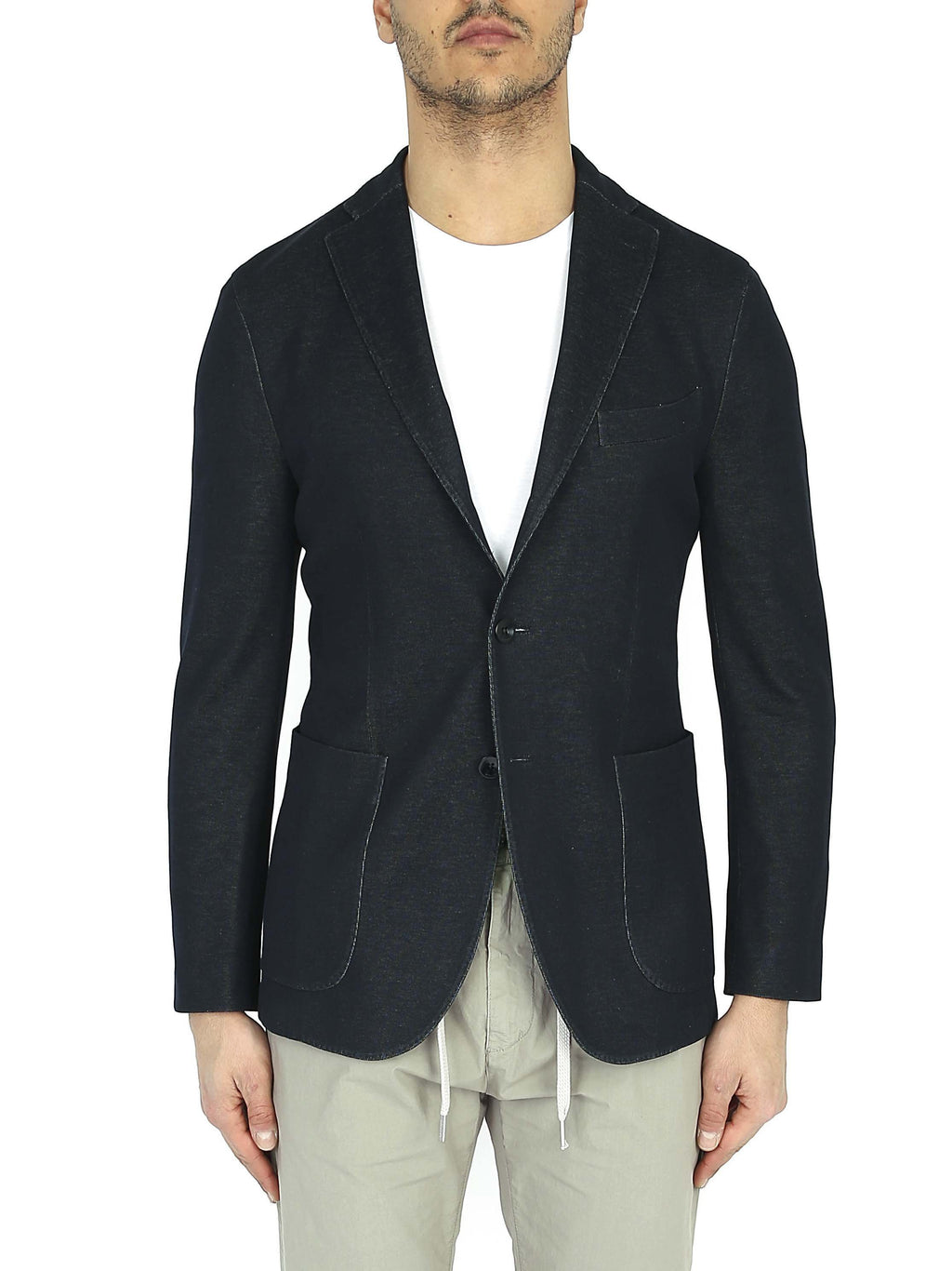 BOGLIOLI Single-breasted blazer in three-button jersey
