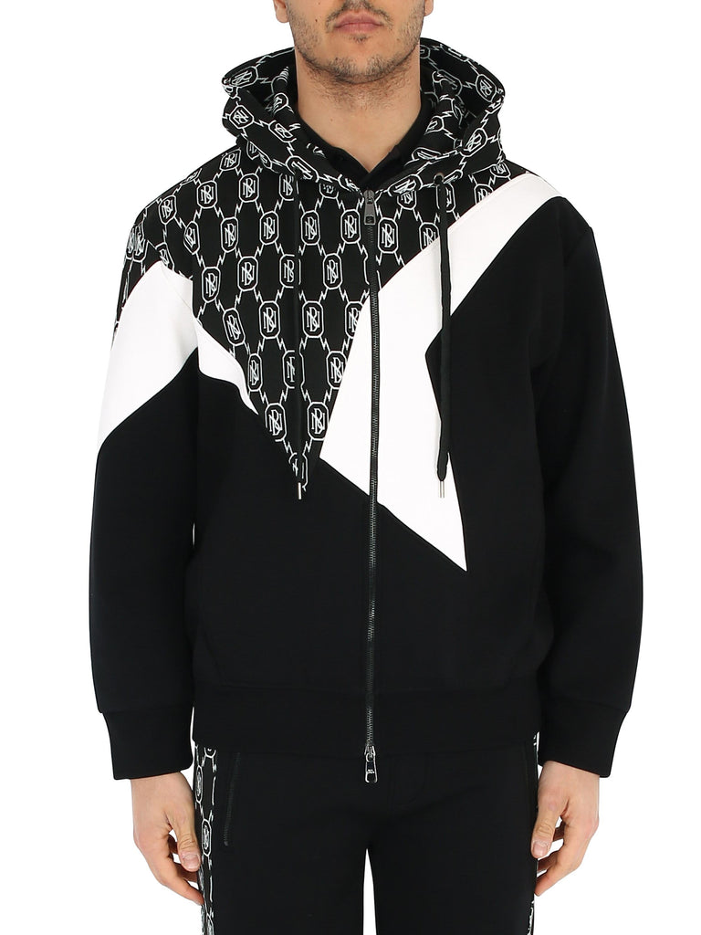 NEIL BARRETT Zip and hoodie with color block design